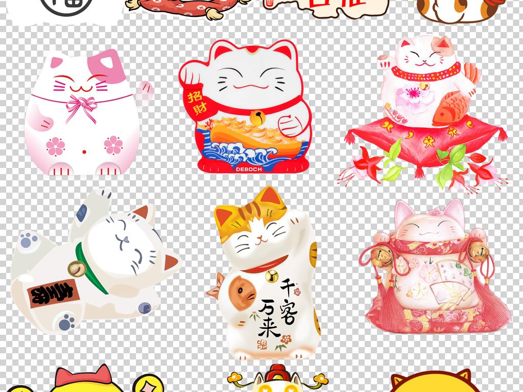 日本招财猫卡通招财猫日式招财猫手绘招财猫招财猫卡通
