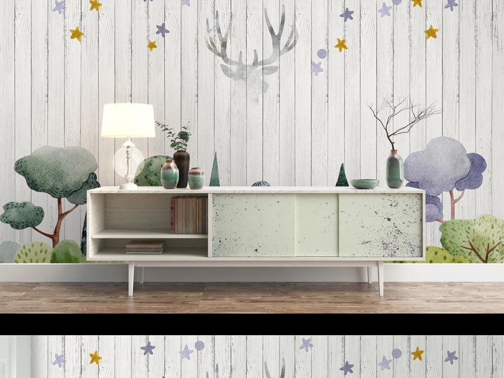 背景墙 电视背景墙 手绘电视背景墙 > 高清简约北欧风格淡雅木板小