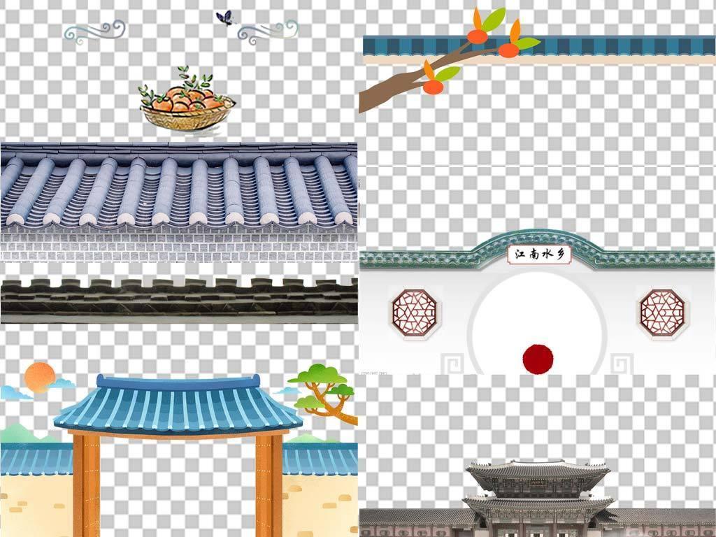 古典中国风古建筑屋檐屋顶古代瓦房png