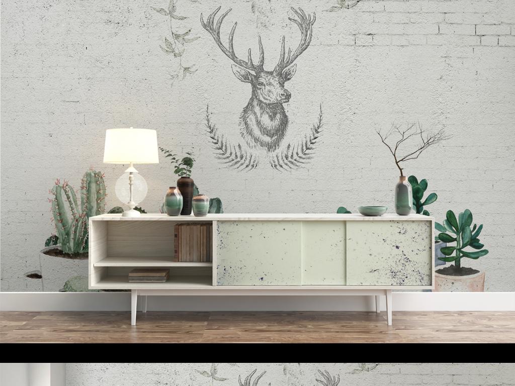 背景墙 装饰画 电视背景墙 手绘电视背景墙 > 高清简约北欧风格白砖墙