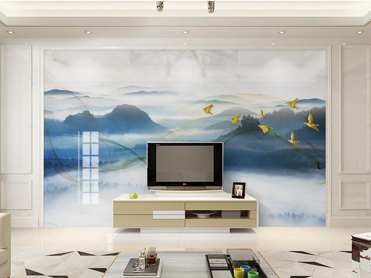 新中式意境大理石纹山水风景电视背景墙