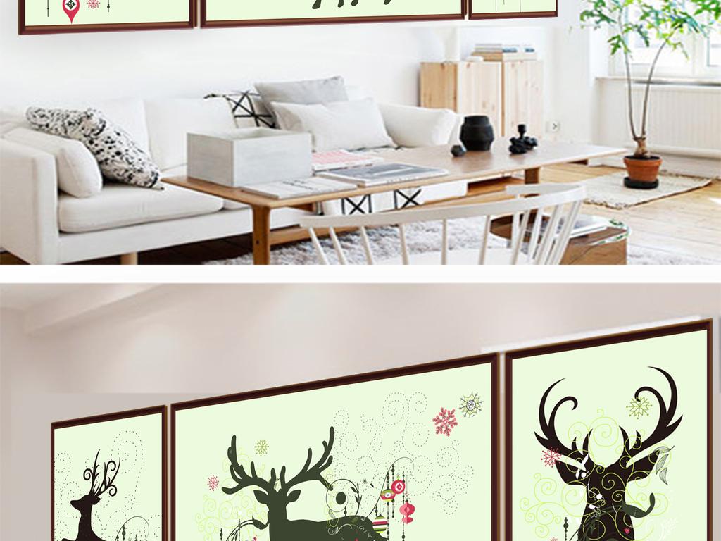 现代简约水彩手绘发财鹿北欧装饰画