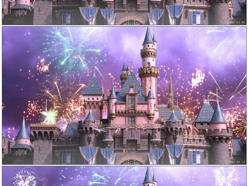 唯美迪斯尼城堡烟花背景视频素材图片