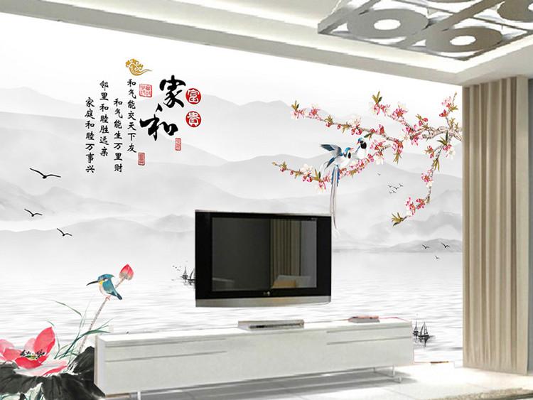 家和富贵梅花喜鹊中式电视背景墙