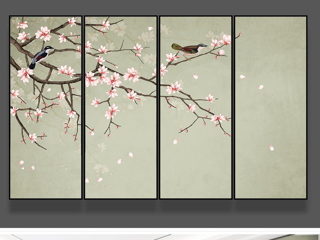 新中式手绘玉兰花鸟工笔花鸟背景墙装饰画