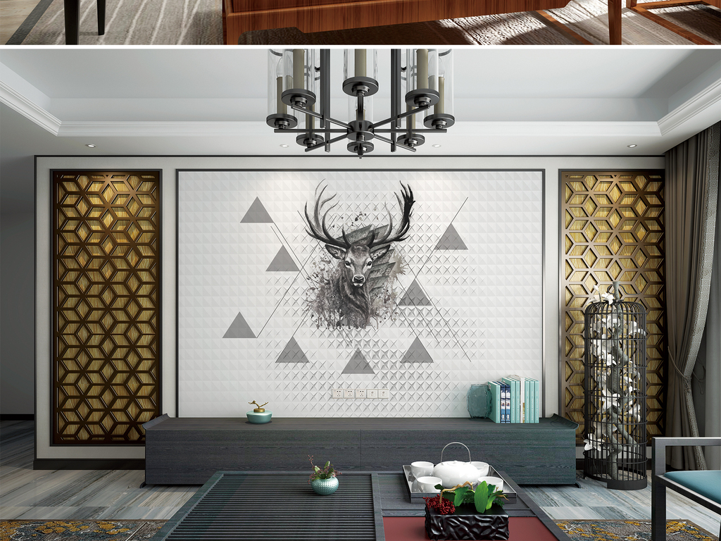 背景墙 电视背景墙 欧式电视背景墙 > 北欧简约手绘几何图形麋鹿艺术