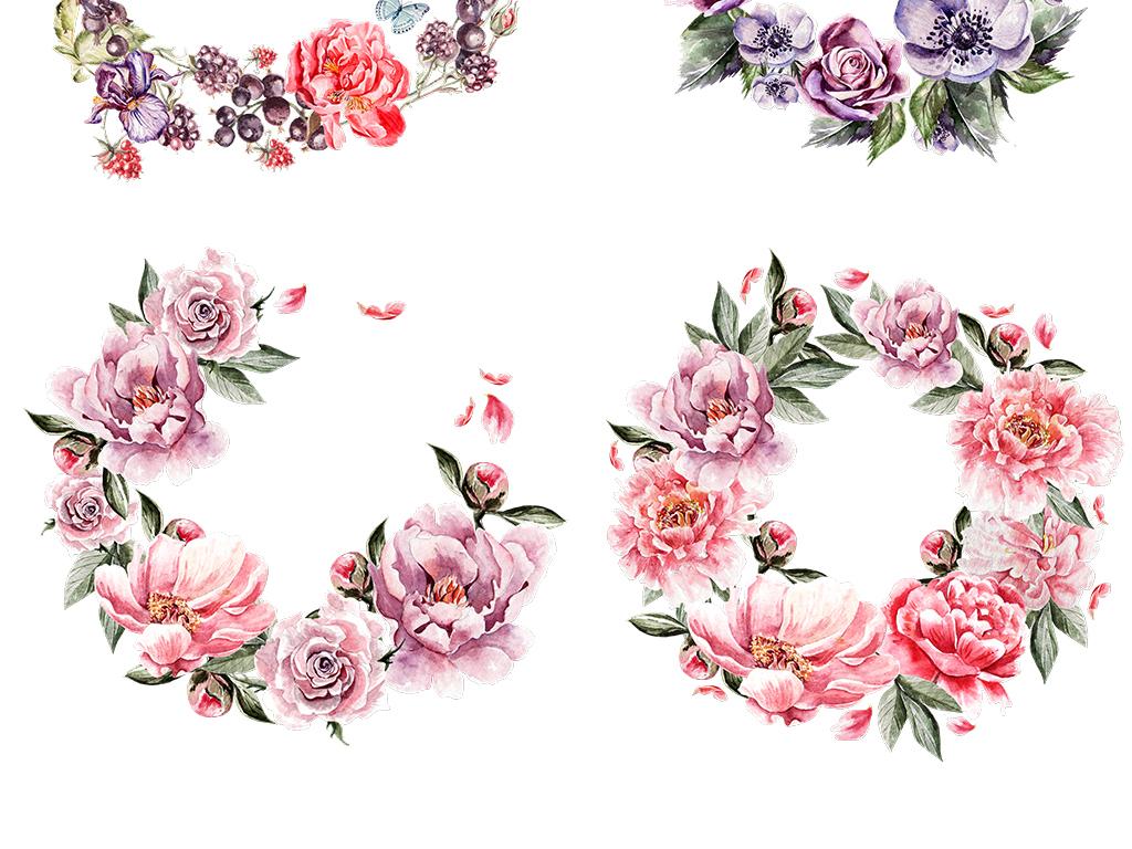 手绘水彩玫瑰花花环peng免抠图素材