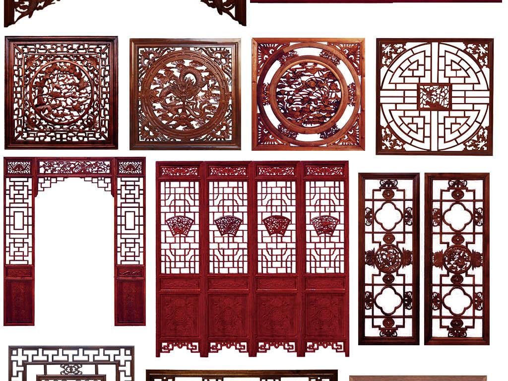 中式花格屏风边框雕花窗格门窗免抠背景素材