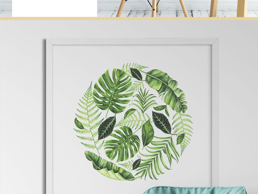 绿色叶子装饰画图片
