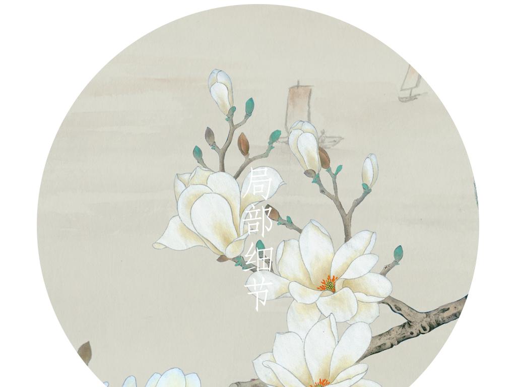 新中式简约手绘玉兰花鸟电视背景墙