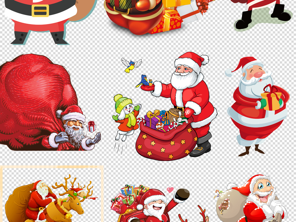 卡通q版圣诞节圣诞老人头像麋鹿png免扣素材