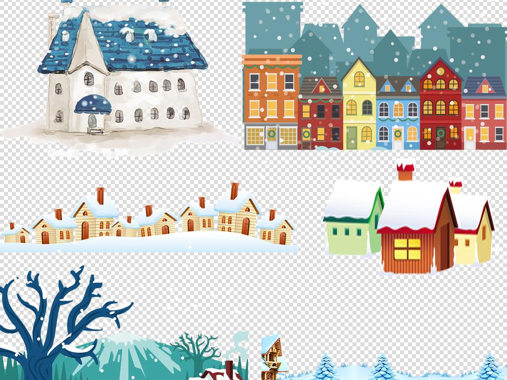 卡通新年春节圣诞雪景小屋雪屋png免扣素材
