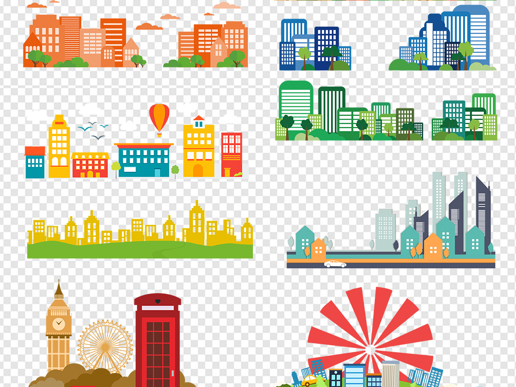 卡通城市建筑建筑速写房子剪影背景素材