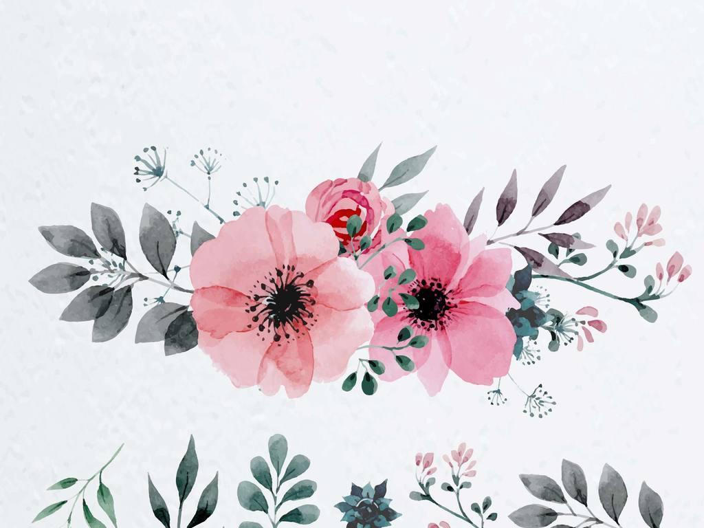手绘叶子水墨植物水墨素材手绘植物手绘玫瑰
