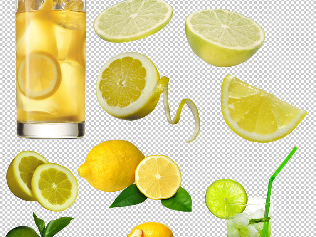柠檬汁果汁新鲜水果柠檬png免扣素材