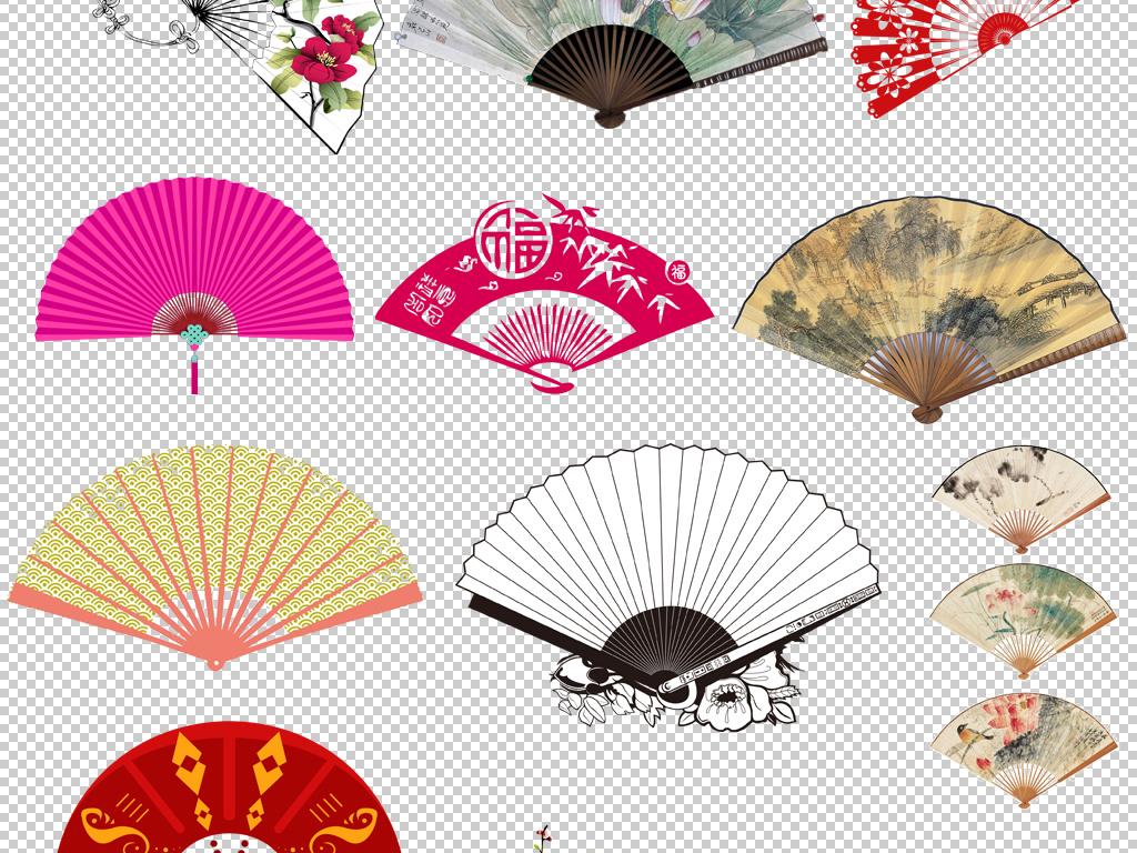 中国风喜庆春节扇子折扇中国结png免扣素材