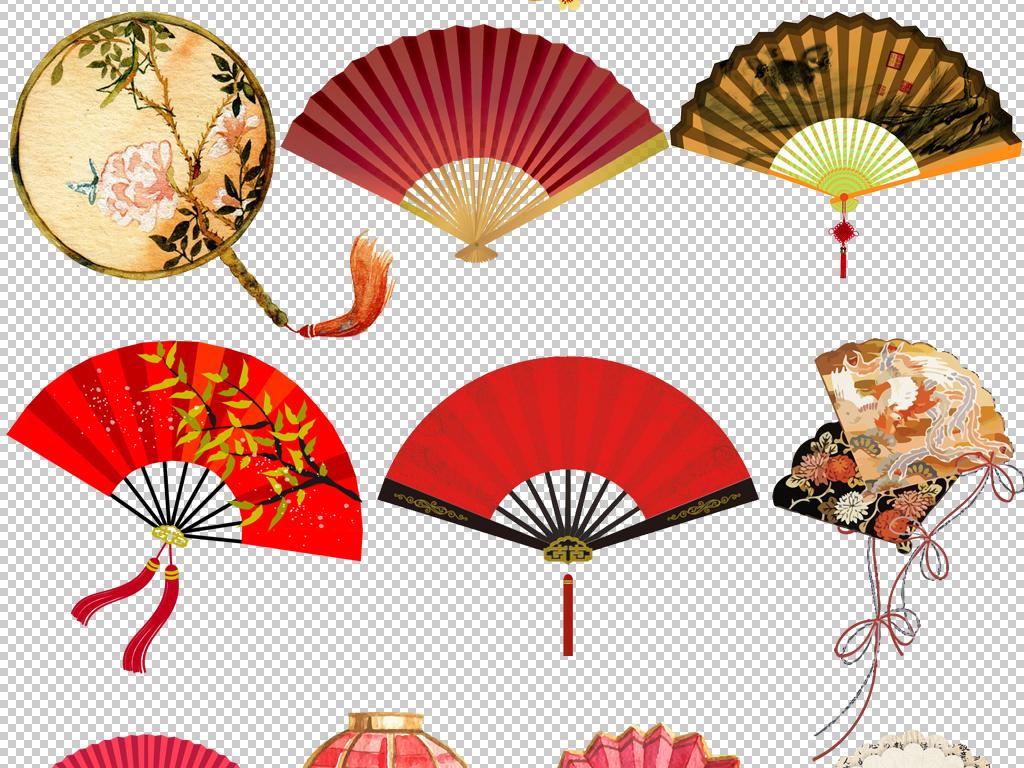 中国风古典喜庆中国年新年扇子折扇png免扣素材
