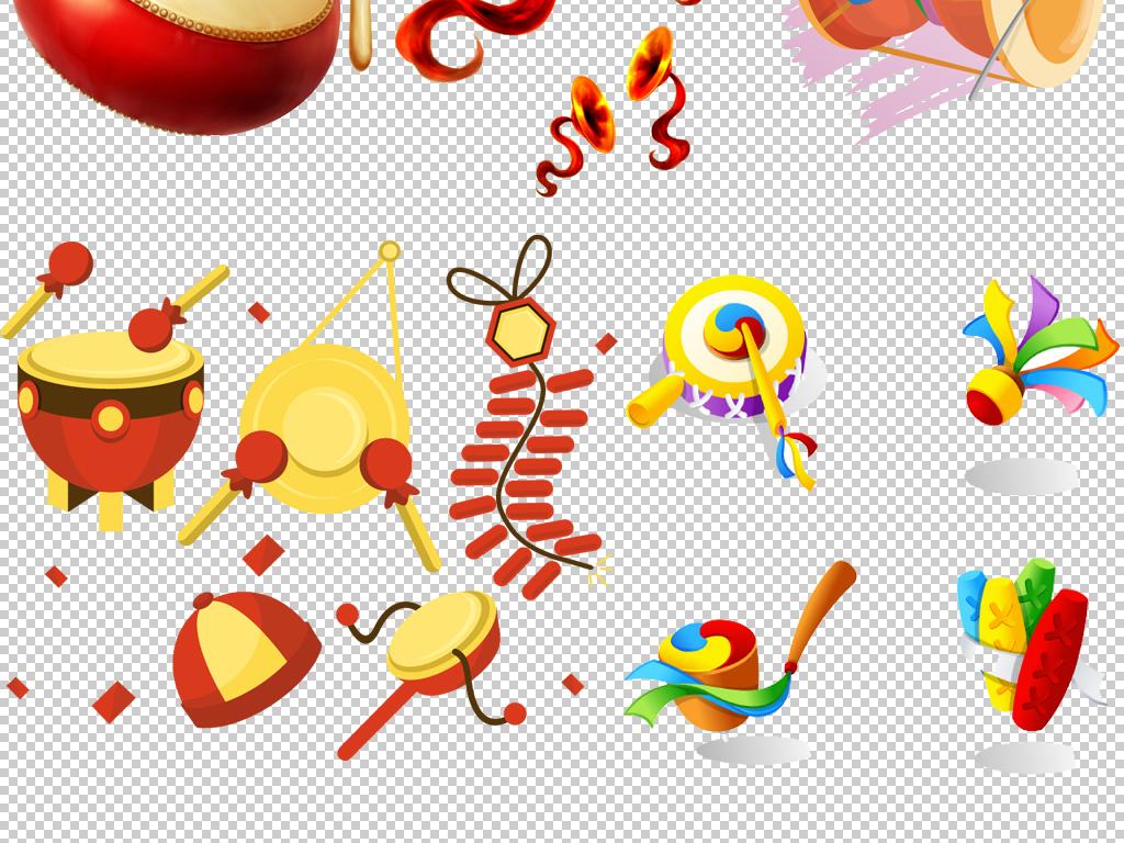 卡通手绘漂亮多彩大鼓炫酷喜庆铜锣鼓庆祝新年春节