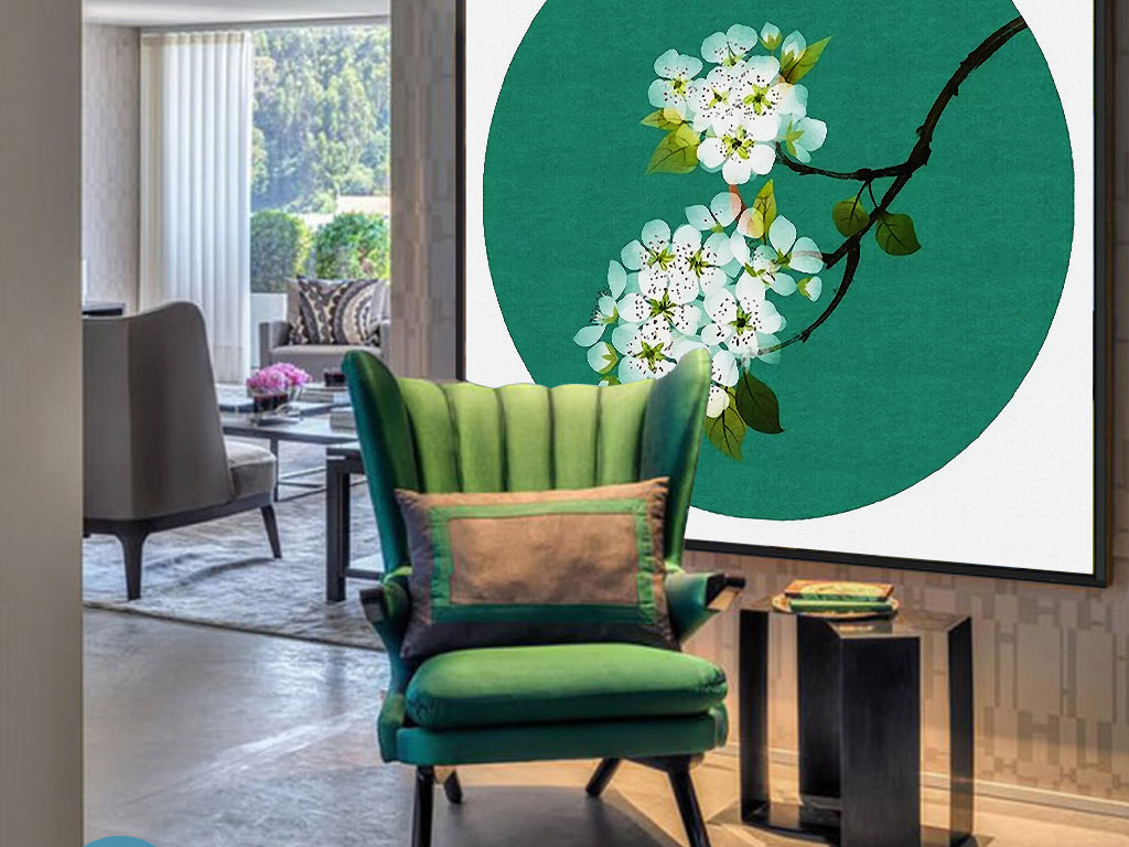 梨花情怀新中式手绘中国风意境简约装饰画
