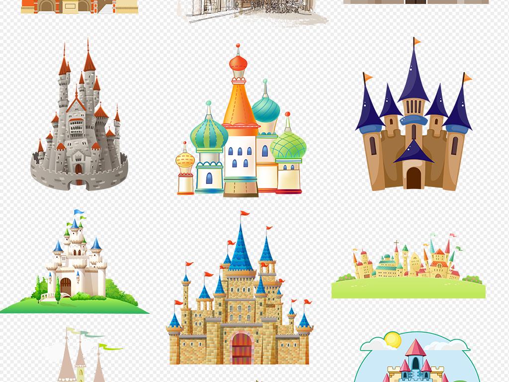 水彩画手绘手绘卡通城堡设计元素