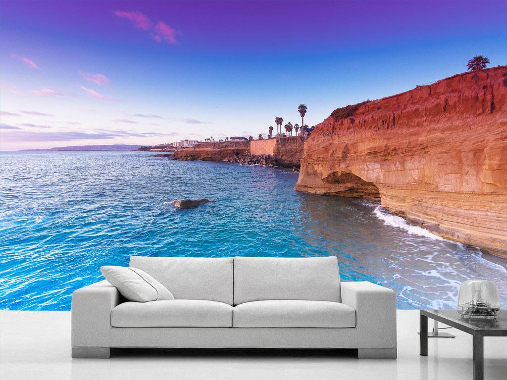 悬崖边的日落欧美北美现代欧式背景墙壁画图片
