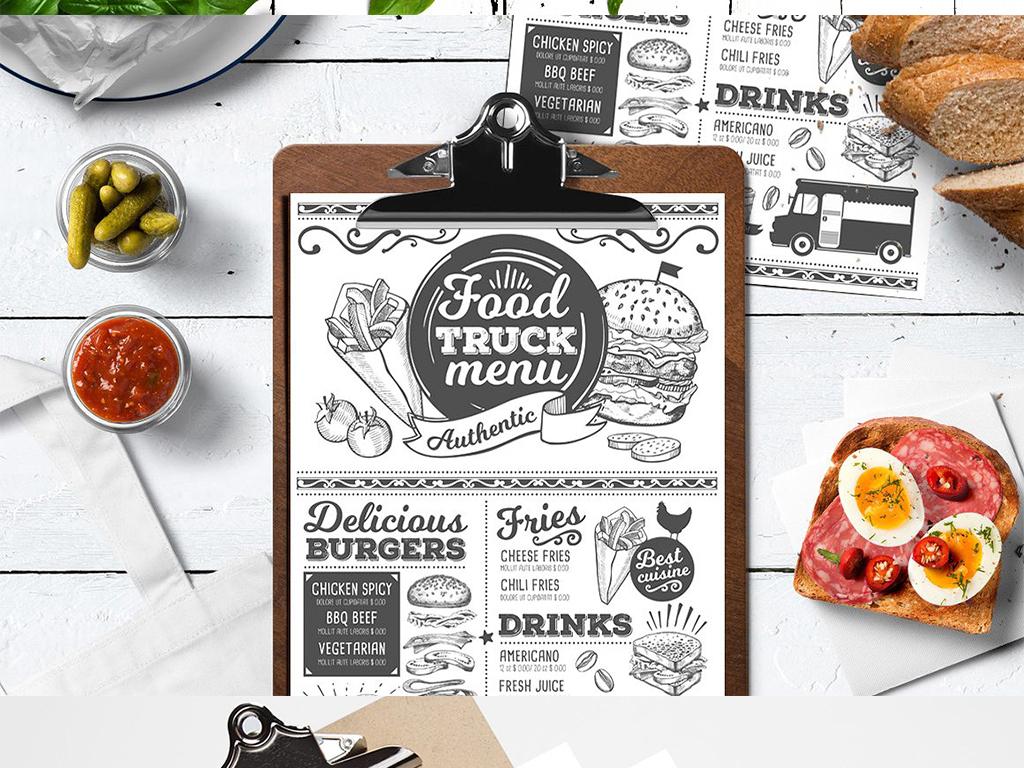 西餐厅快餐店手绘菜单酒水单海报矢量素材
