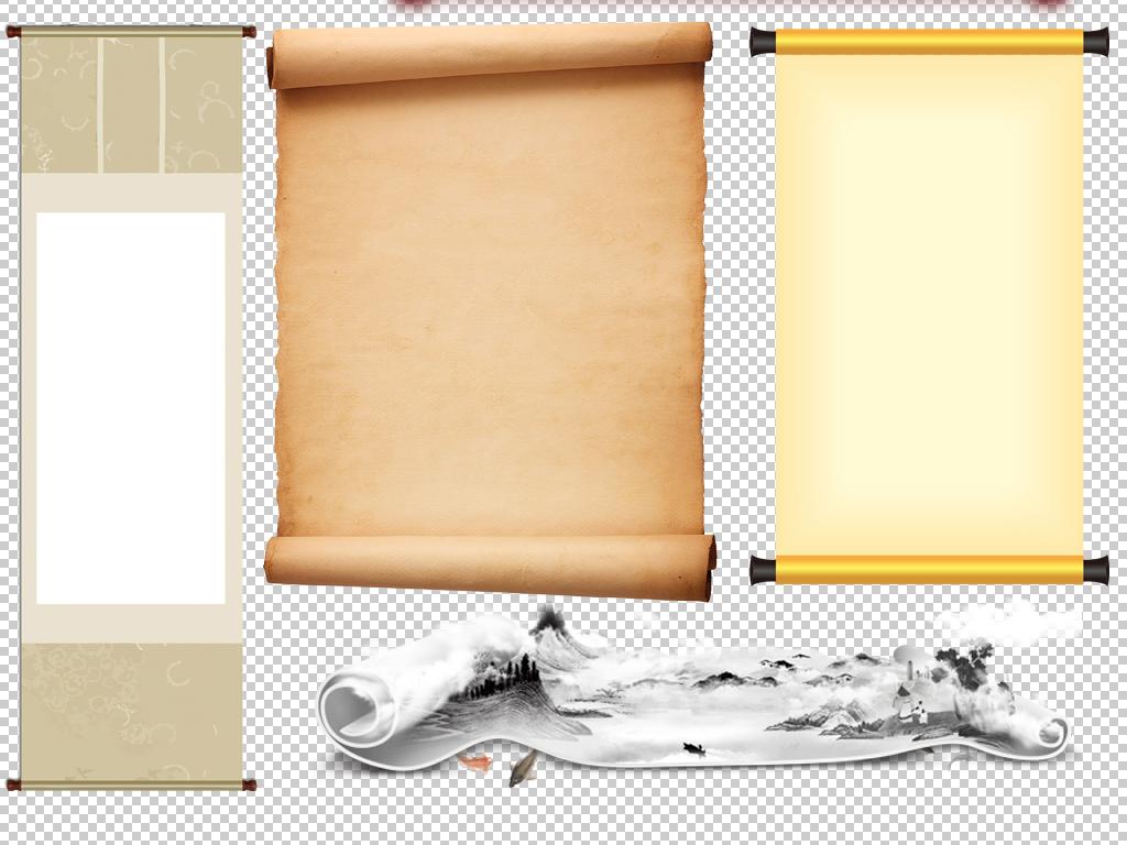 红色古风中国风古典复古卷轴画卷字画png免扣素材