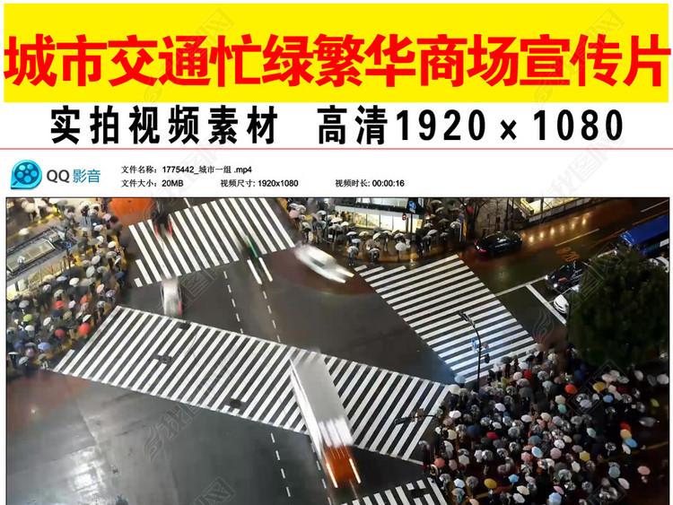 实拍城市交通忙碌繁华上商场视频素材
