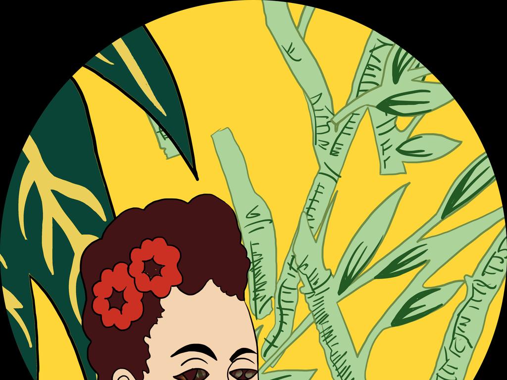 西域风高清手绘热带植物人物插画图案设计