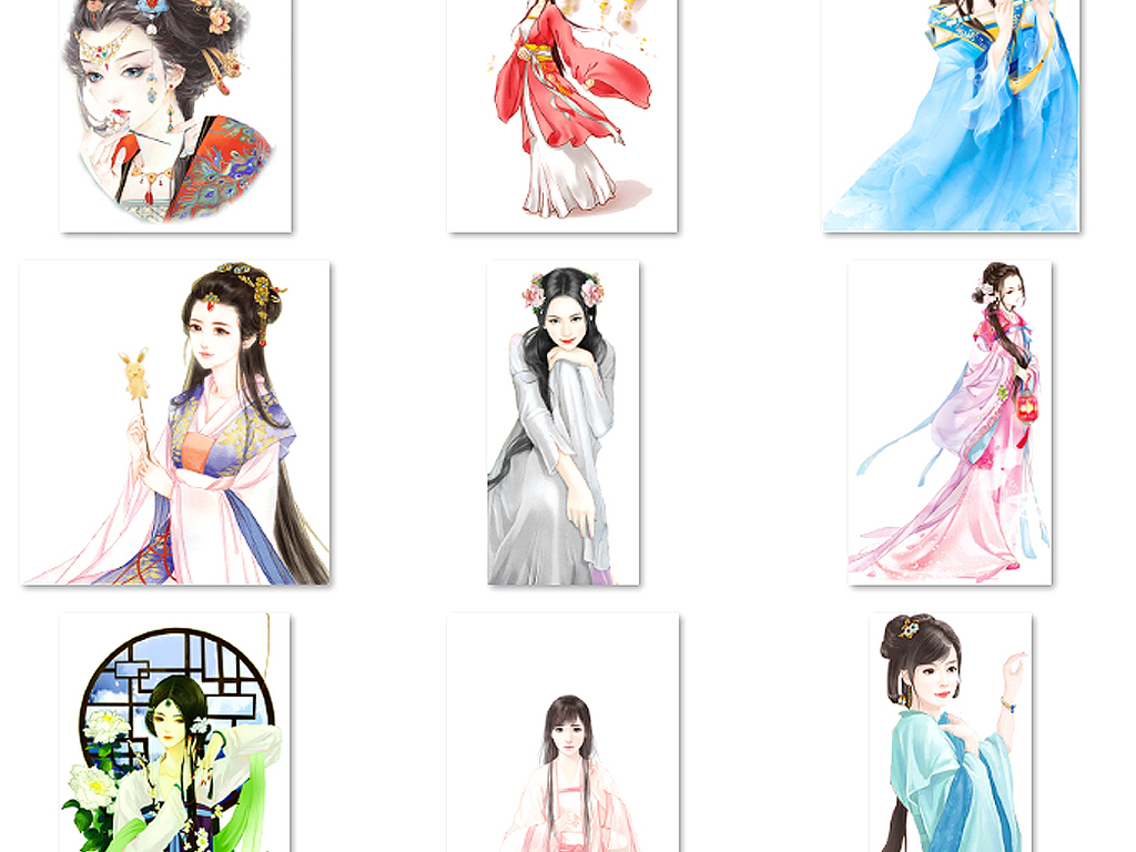 中国风古风古代美女古装古典女人水彩素材