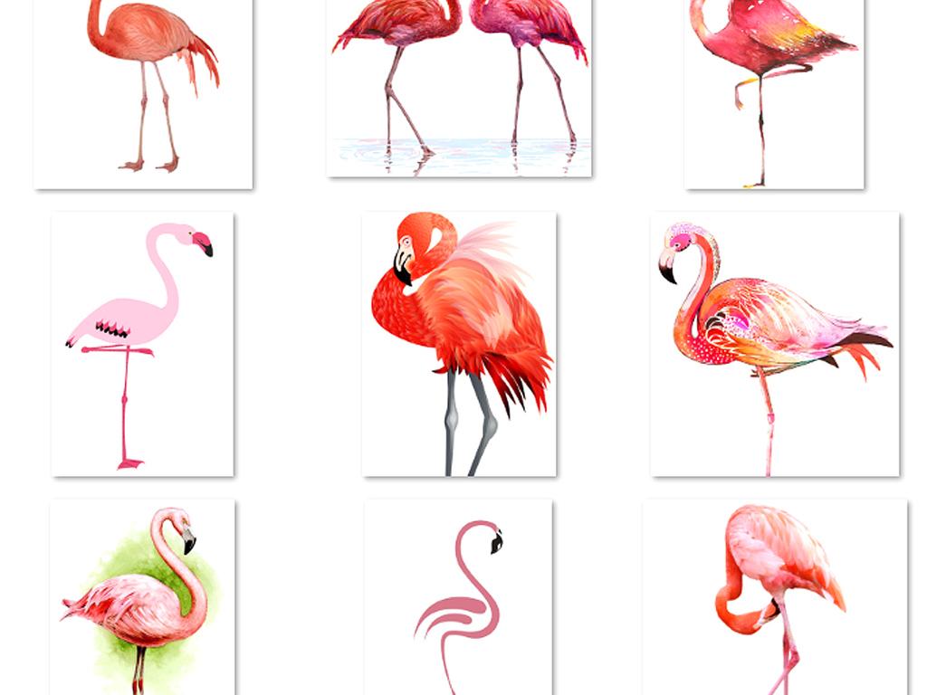 小清新手绘可爱卡通火烈鸟素材