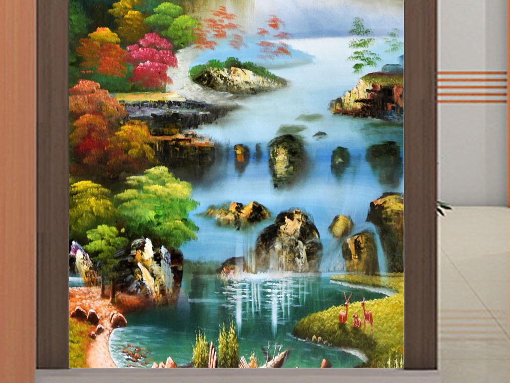 高清手绘山水瀑布油画玄关