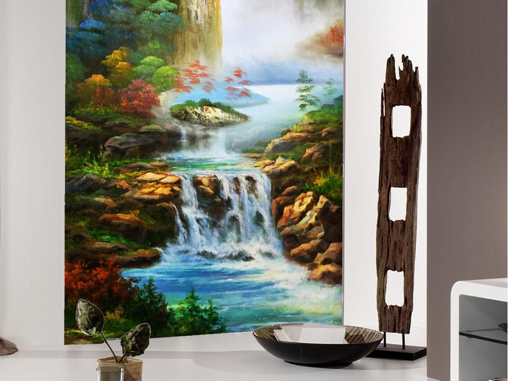 背景墙 玄关 油画|立体油画玄关 > 高清手绘桂林山水油画玄关图  素材