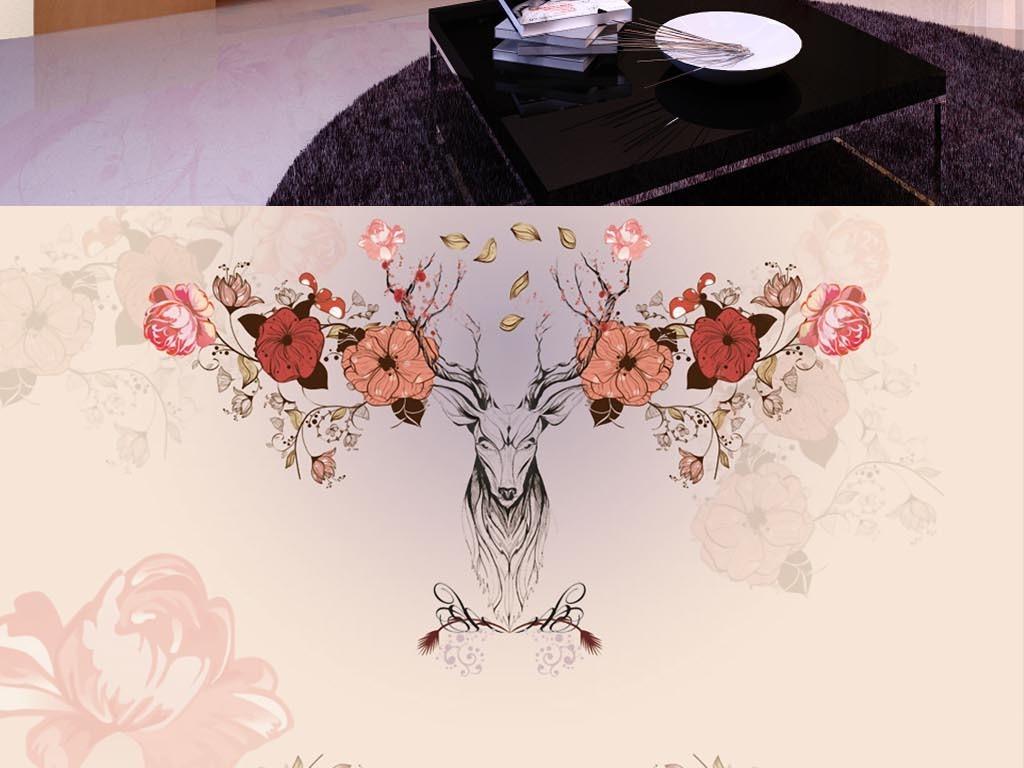 现代简约手绘麋鹿唯美背景墙壁画壁纸