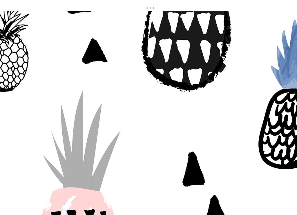 北欧手绘线条菠萝几何艺术图案六边形装饰画