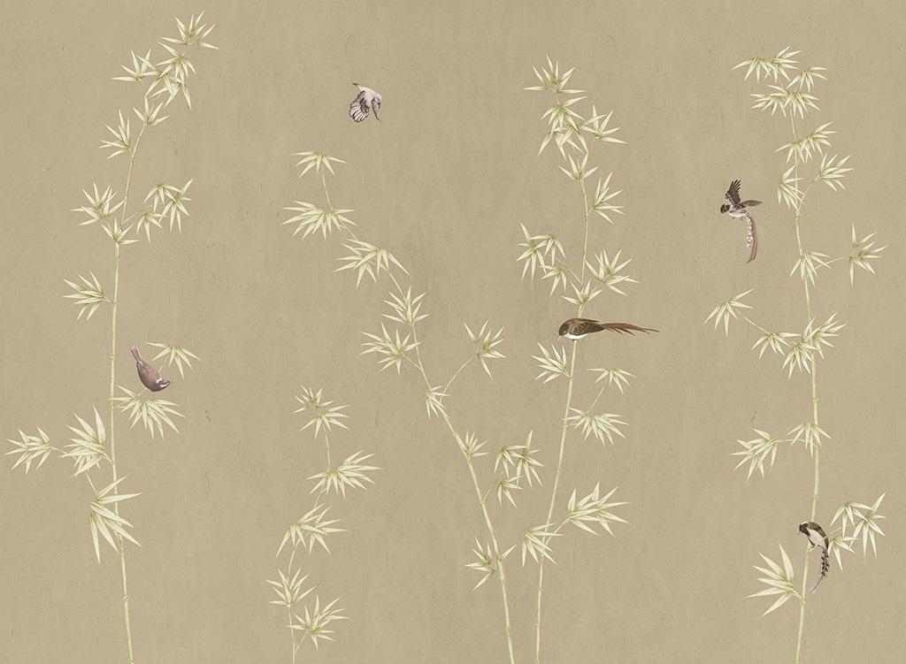新中式现代简约真丝手绘花鸟竹子壁画背景墙图片设计图片