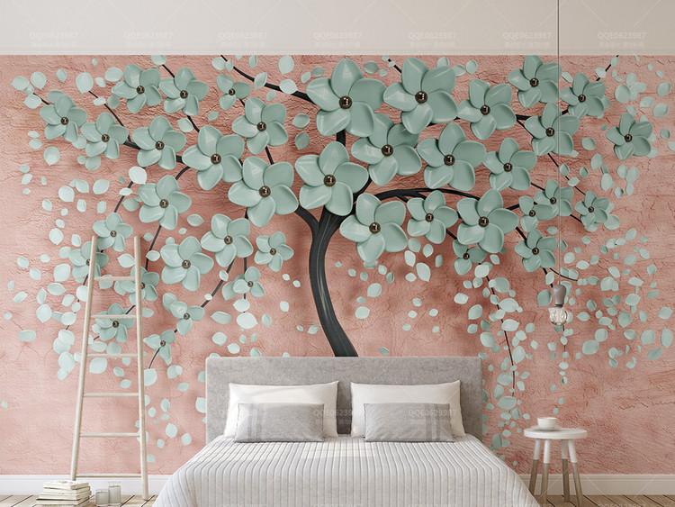 3d立体新款一棵树现代北欧花朵电视背景墙