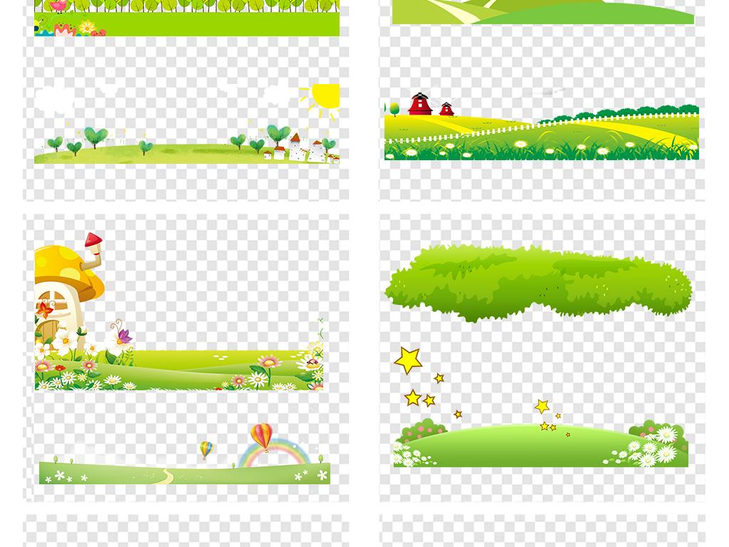 免抠元素 花纹边框 卡通手绘边框 > 春季绿色卡通草地草坪草丛高清