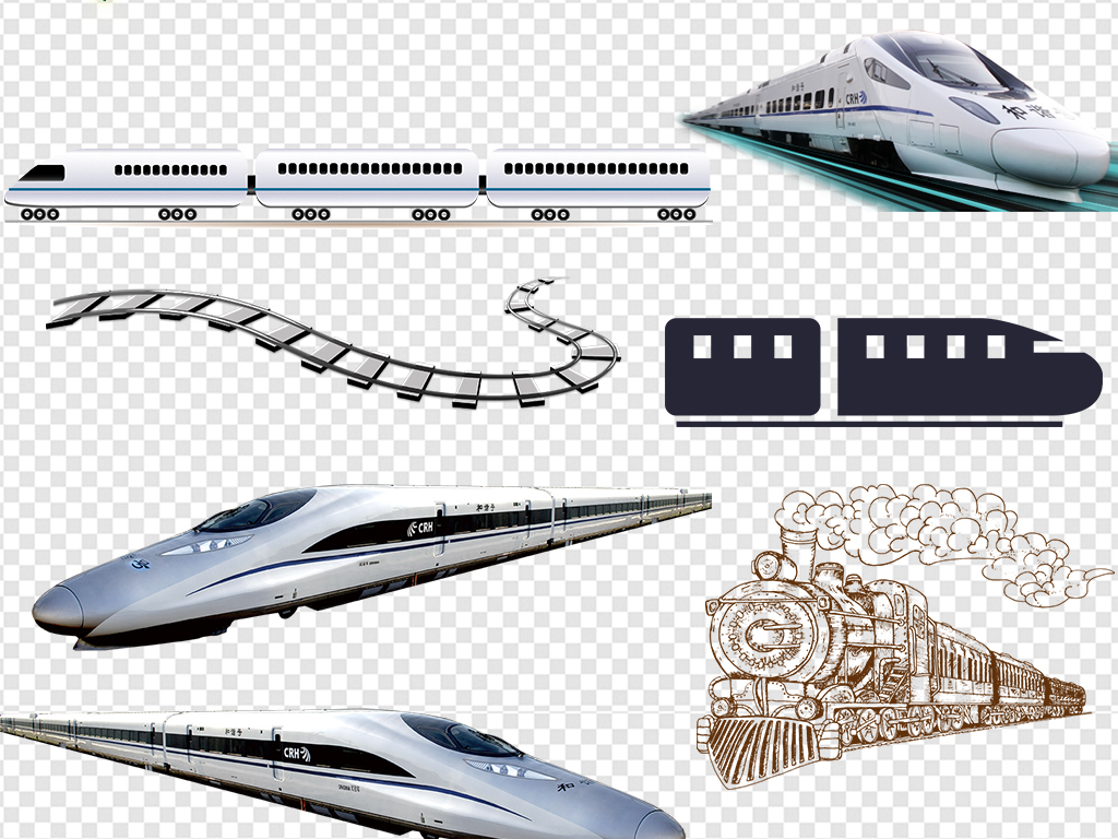 卡通火车动车高铁回家过年年货节png素材