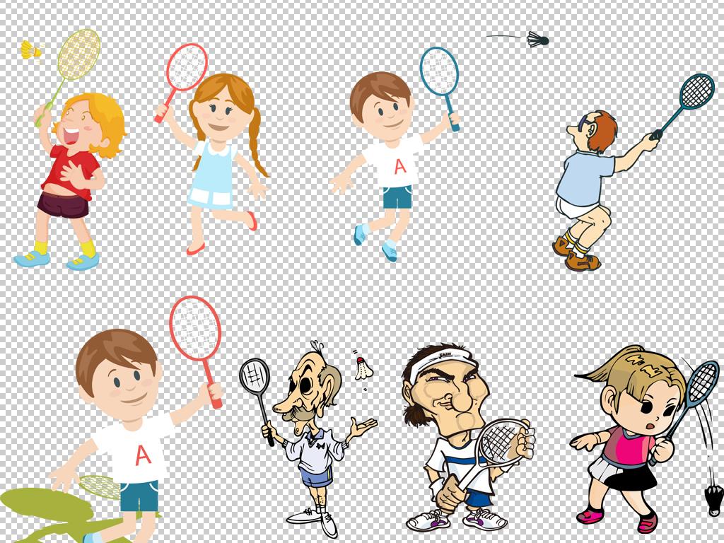 炫彩手绘可爱卡通儿童运动羽毛球人物设计免扣素材