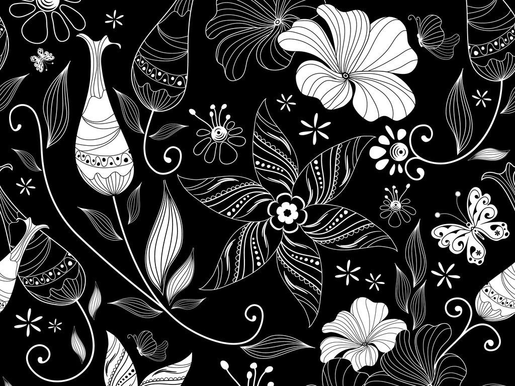 黑白线描植物花卉图案设计图片_高清 矢量图素材下载