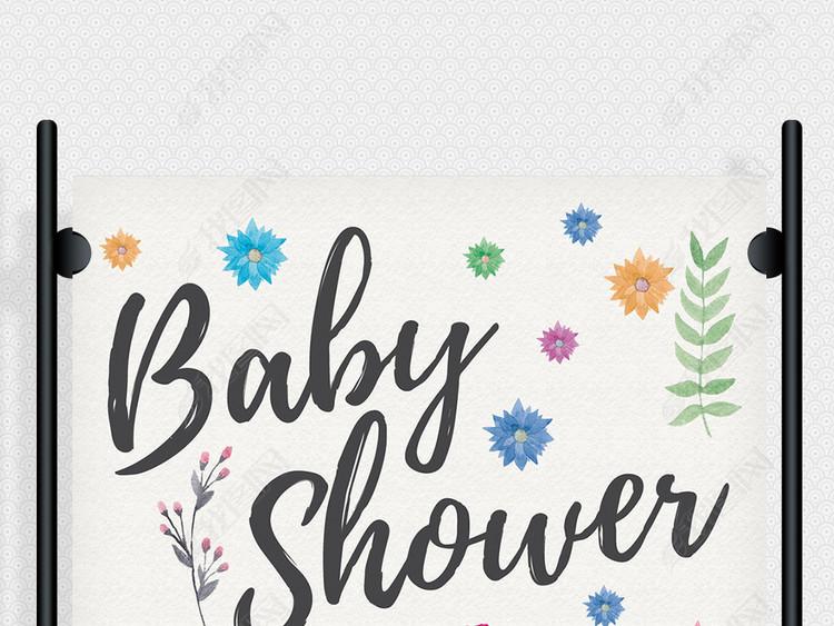 清新文艺水彩手绘花朵植物海报ps素材