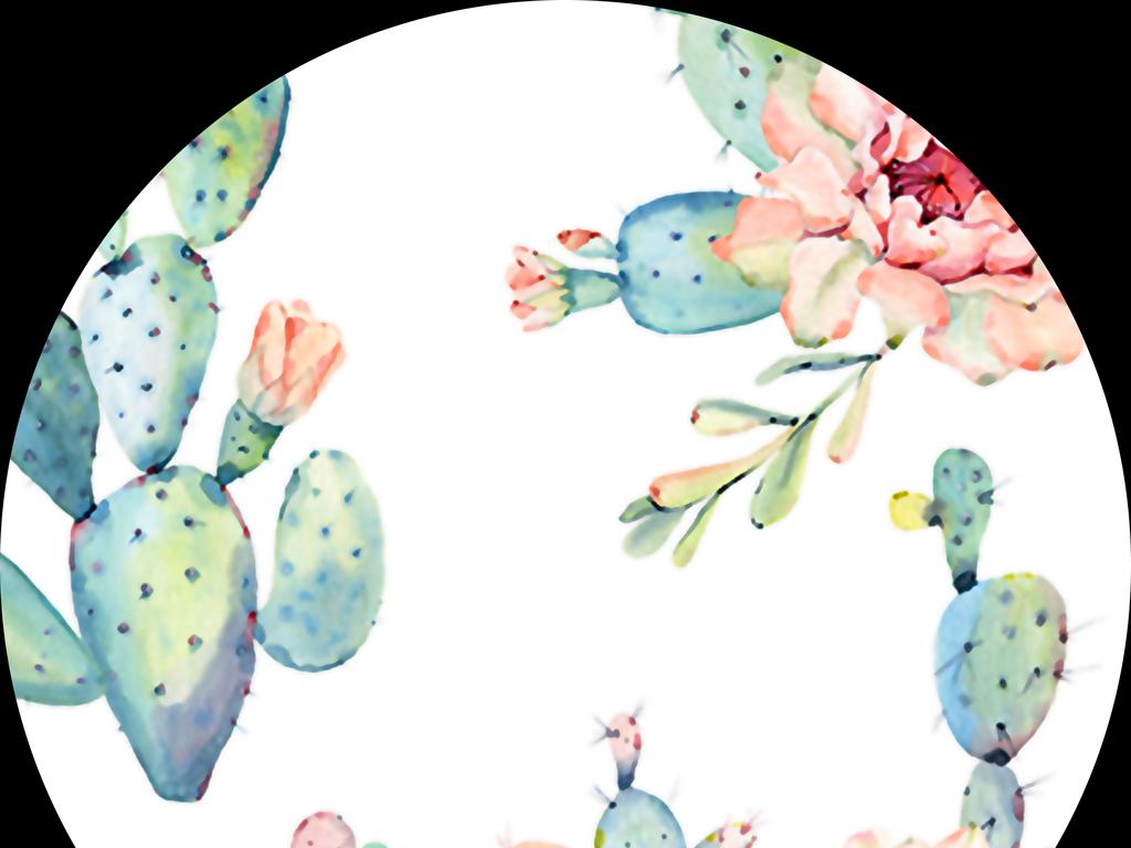手绘水彩热带植物仙人掌无缝数码印花