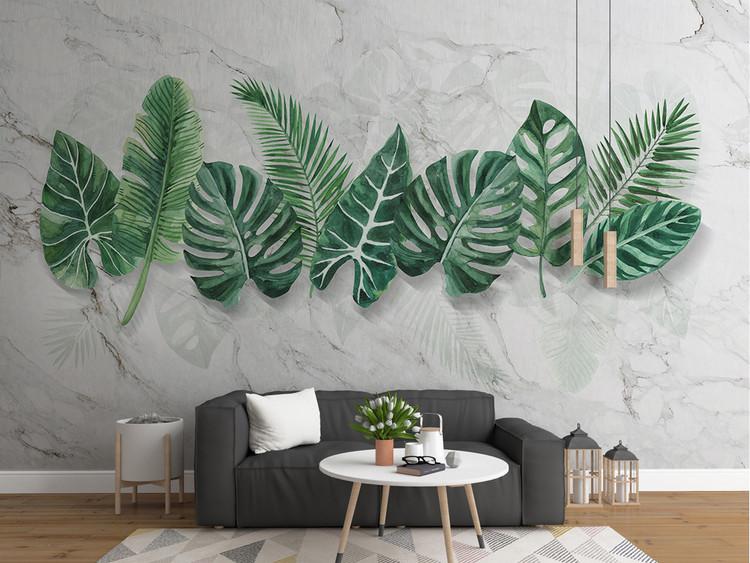 现代简约大理石纹手绘植物叶子背景墙