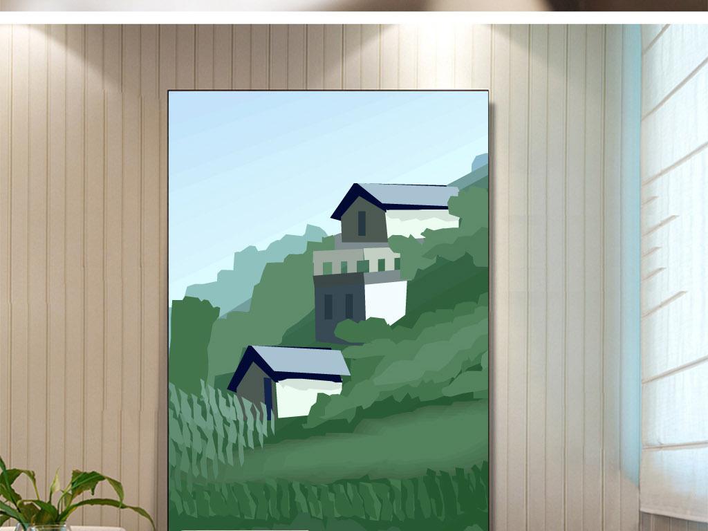 背景墙 电视背景墙 手绘电视背景墙 > 手绘半山腰房屋背景图  素材