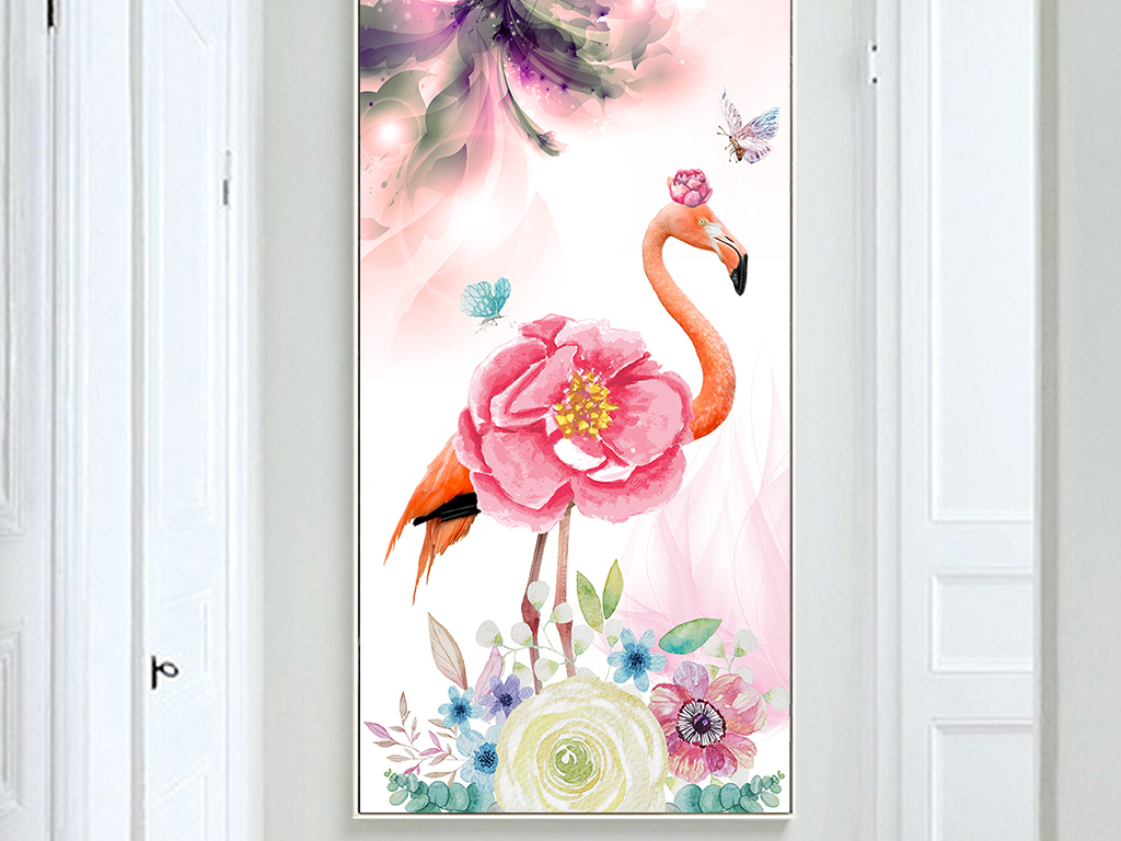 北欧小清新手绘水彩花卉火烈鸟创意无框画现代简约竖版玄关挂画