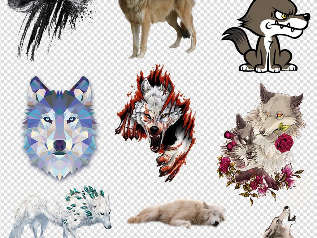 免抠元素 自然素材 动物 > 50余款卡通手绘狼人动物狼头图片海报素材