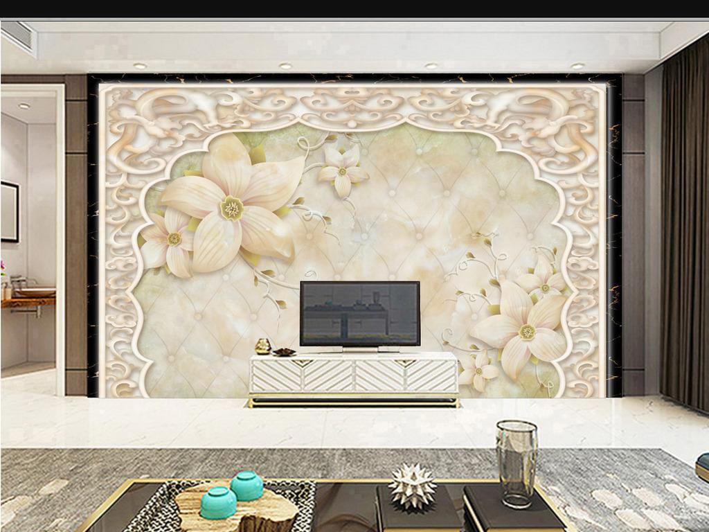 唯美浪漫温馨小花3d电视背景墙壁画壁纸