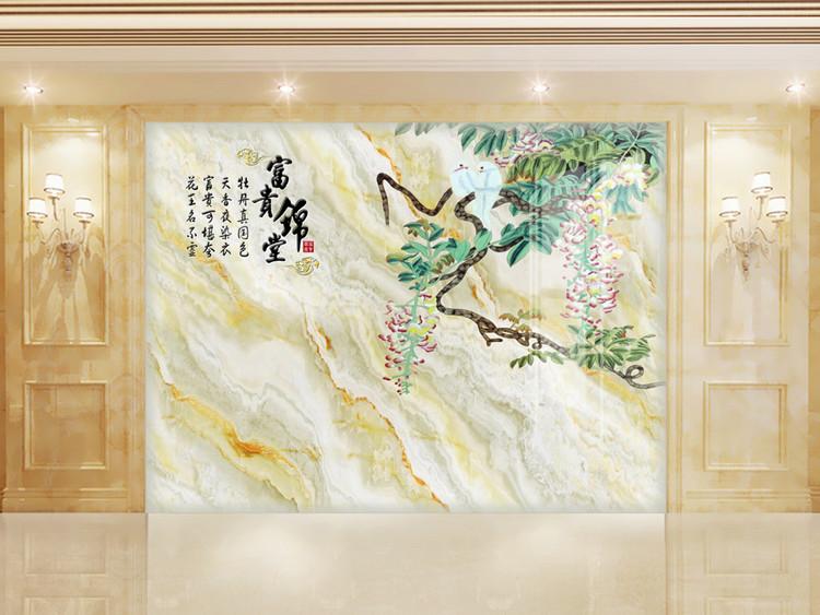 中式大理石纹富贵锦堂喜从天降石材背景墙