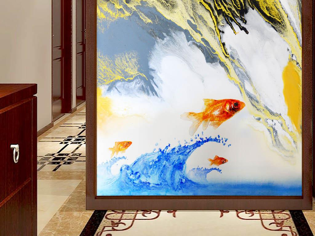抽象山水鲤鱼跳龙门玄关装饰画图片